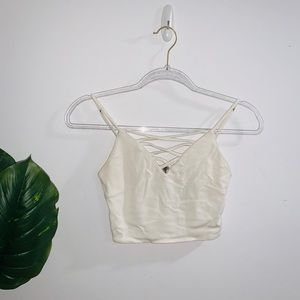 Forever21 White/Cream Crop Top With Criss Cross